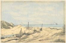 Doorgraving van de laatste duinrug, 1875