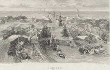 Fantasie gezicht van de sluizen bij IJmuiden, 1863